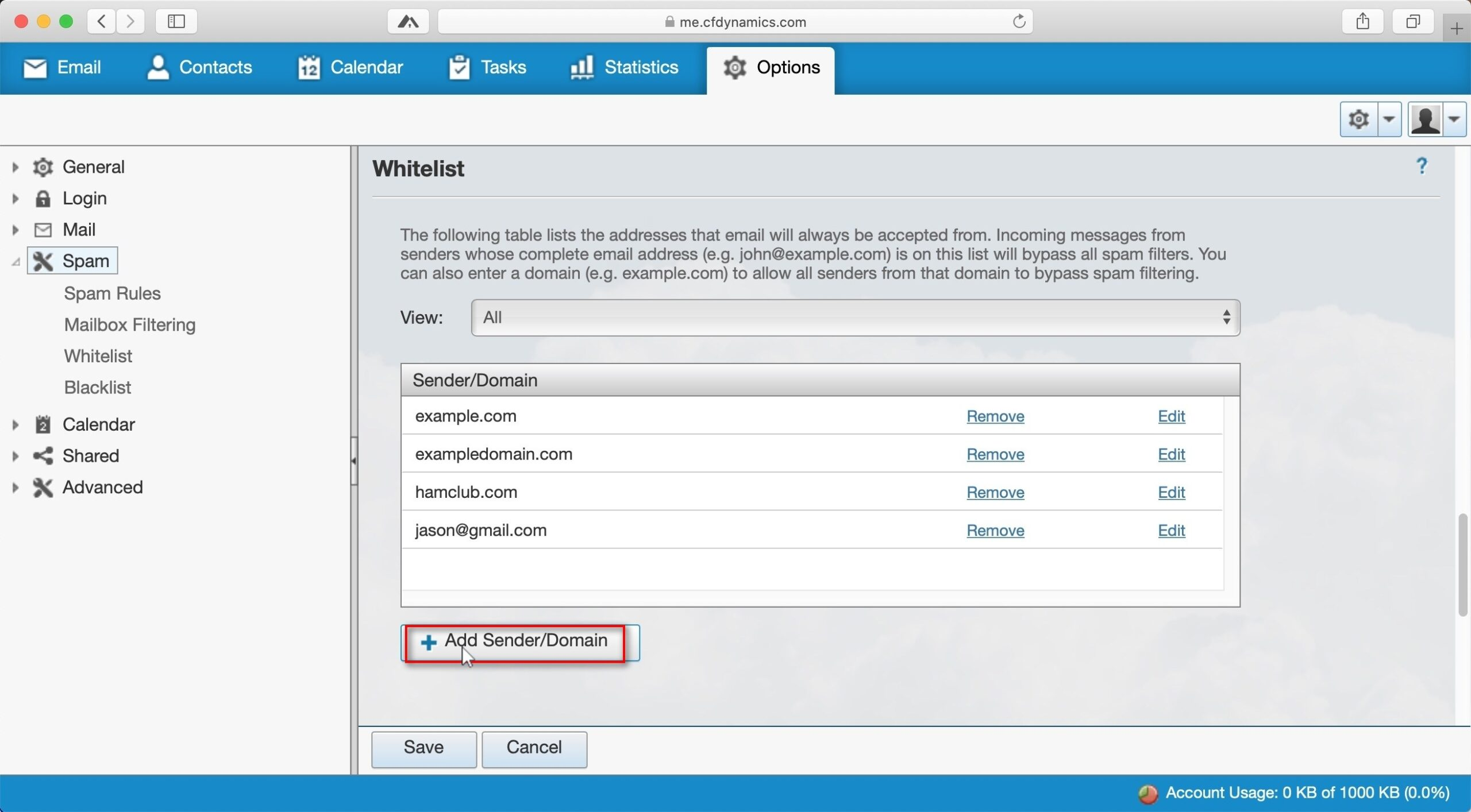 Adding spam rule exceptions Click on + Add Sender/Domain to manage your Whitelist.